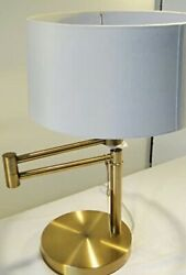 Ralph Lauren Signature Swing Arm Brass Table Lamp Weighted Base With Shade NEW $174.00