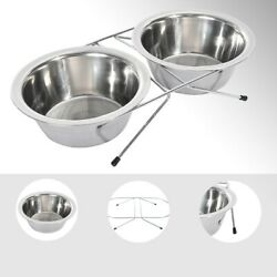 Double Dog Pet Bowls Dish Stainless Steel Stand Feeder Cat Food Water Iron Bowl $17.18