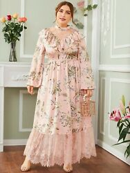SHEIN NEW BABY PINK VINTAGE STYLE LACE FLORAL DRESS SIZE 3X FITS 2X BEST $19.99
