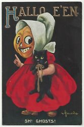 1910 Embossed HALLOWEEN Signed Wall Girl with Pumpkin Head Black Cat $99.99
