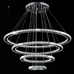 Crystal Chandeliers 4 Rings LED Ceiling Fixtures Adjustable Height Hanging Light $139.98