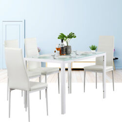 Household Dining Table Set Glass Metal Kitchen Room Breakfast Dining Table $113.99