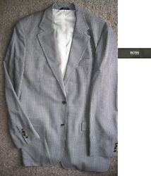 HUGO BOSS designer BLACK IVORY CHECK mens sport coat sz 44L 44 LONG ITALY