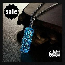 Cylindrical Pendant Necklace Luminous Crystal Glow In The Dark Charming Jewelry $7.99