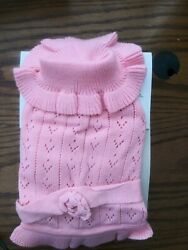 Fashion Pet Medium Pink Pointelle Sweater Dress For Dogs $12.99