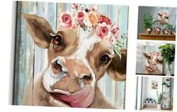 Country Farmhouse canvas Printing Rustic Bedroom Decor Retro Cow Wall Art Home $22.39