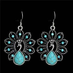 Antique Silver Peacock Turquoise Pendant Style Vintage Earrings $9.99