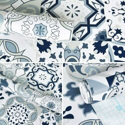 78.7quot; x 17.7quot; Blue Tile Contact Paper Blue Flower Wallpaper Peel and Stick Wall $14.99