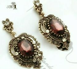 Vintage Gothic Red Earrings Antique Gold Crystal Round Art Deco Dangle Drop
