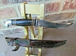Vintage Tree Brand BOKER USA Hunting Skinning Knife w Ka Bar Leather Sheath $44.95