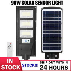 60W Commercial LED Solar Street Light Motion Sensor Dusk to DawnRemote Lamp