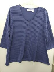 Denim amp; Co Womens Large Blue Striped Heavenly Jersey 3 4 Sleeve Top NWOT A382152 $19.99