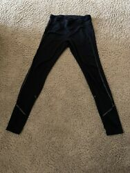 WOmen#x27;s ZELLA black leggings S SMALL with silver stitches and see trough element $20.00