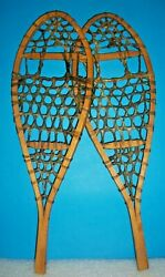 OLD PAIR OF HAND CRAFTED WOOD amp; RAWHIDE SNOWSHOES SMALL 5quot; X 16quot; SALESMAN SAMPLE $49.95