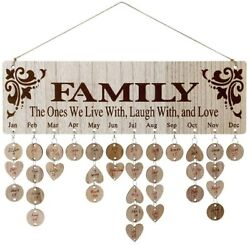DIY Wooden Family Birthday Reminder Calendar Wall Hanging with 100 Tags Decor $38.90