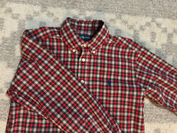 RALPH LAUREN BOYS Size M 8 10 Red Pattern Dress Shirt Very Nice $8.99