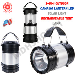 Camping Lantern Led Solar Light Rechargeable Tent Lamp 2 In 1 Outdoor Flashlight $16.87