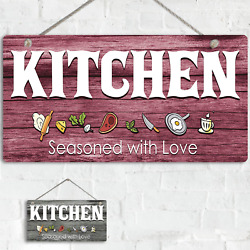 Kitchen Wall Art Decor Rustic Wall Sign Seasoned with Love Double Side $19.99