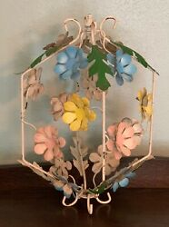 Vintage Tole Antique Chandelier Lamp Roses Flowers Italian BIRD CAGE ONLY PART $54.95