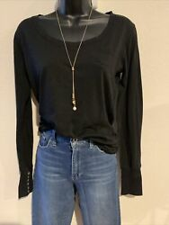 ❤️Poof Excellence Women#x27;s Black Long Sleeve Stretch T Shirt Size L button cuffs