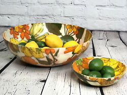 "Mid Century Large Fiberglass Bowl Set 12.5"" Chip amp; Dip 6.5"" Salad Serving Bowls $64.99"
