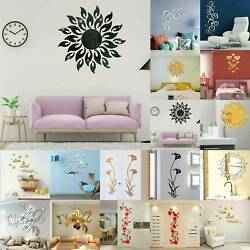 3D Home Mural Acrylic Wall Room Sticker Mirror Decoration Decal Removable Flower $29.68