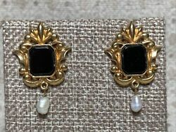 Vintage Victorian Style Pearl Drop Avon Earrings Black amp; Gold Tone Lovely $10.00