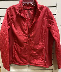 Ll Bean Womens Plus 1x Fleece Lined Jacket Quilted Red Stretch Nylon Winter Zip $16.99