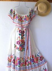 New Ivory Floral Peasant Tiered Ruffle Summer Rose Maxi Boho Dress Size Large L $68.95