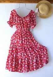 New Red Country Floral Peasant Tiered Summer Cottage Boho Dress Size XL $58.95