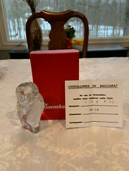 BACCARAT CRYSTAL OWL FIGURINE PAPERWEIGHT 4565 456 FLAWLESS $45.95
