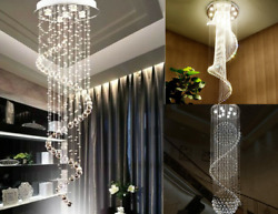 Modern Crystal Spiral Rain Drop Chandelier LED Aisle Stair Ceiling Pendant Light $156.59