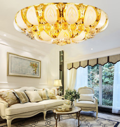 23.6in Luxury Crystal Chandelier Flush Mount Lotus Home Ceiling Lighting Fixture $136.79