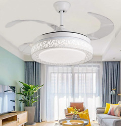 42quot; Invisible Blade LED 3 Color Change Ceiling Fan Lamp Modern Chandelierremote $176.99