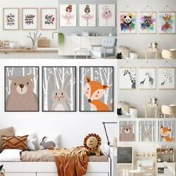 3x Set Cute Animal Decorative Picture Canvas Painting Wall Art Baby Room Posters $12.59