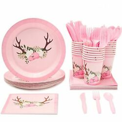 24 Set Disposable Dinnerware Floral Rustic for Kids Birthday Party Baby Showers $21.99