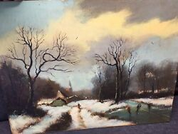 Antique Oil Painting On Board Winter Ice Skating Scene Country Signed Landscape $50.00