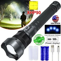 990000Lumens XHP90 70 50 LED Zoom USB Rechargeable Flashlight Super Bright Torch $21.41