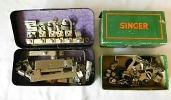 2 Vintage Boxes Sewing Machine Attachements SINGER and GREIST $14.95