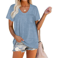 Womens Loose Fit Short Sleeve T Shirts V Neck Casual Basic Tunic Tops Tee Blouse $9.99