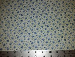 1 2 Yd Calico Quilt Fabric Shades of Blue Flowers on White Flowers Roses Daisy $3.19