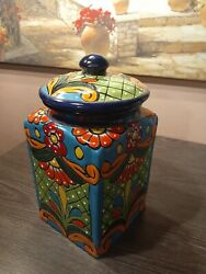 Mexican Talavera Pottery Art Kitchen Canister Cookie Jar $84.95
