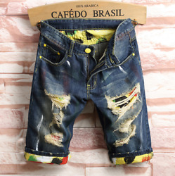 Mens Cotton Denim Shorts Distressed Ripped Jeans Casual Holes Pants Short Summer $25.99