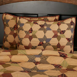 Tea Star Cotton Quilted Bedding VHC COUNTRY PRIMITIVE Antique Cabin Style $199.95