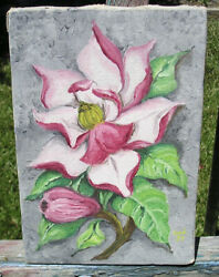 OLD OIL ON CANVAS PINK MAGNOLIA BLOSSOM 1953 INITIALS CALIFORNIA ESTATE FIND $65.00