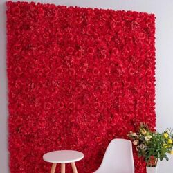 Bendable Artificial Flowers Wall Panel Durable Fake Rose Wedding Party Backdrops $36.93