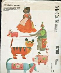 McCall#x27;s 6708 ©1963; Six Novelty Animals To Make From Recycled Plastic Bottles $7.13