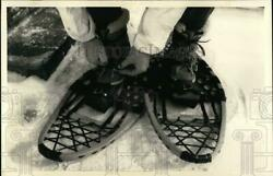 1989 Press Photo Maurice Cady Wearing Modified Bear Claw Snowshoes sya76938 $12.99