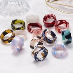 5Pcs Resin Colorful Acetate Opening Finger Ring Wedding Jewelry Gift Adjustable C $0.99