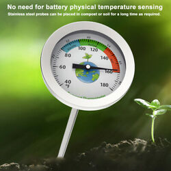 Dial Display Stainless Steel Compost Thermometer Portable Garden Soil Ground $33.68